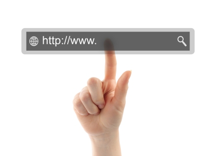 Hand pushing virtual search bar