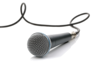 Microphone with cable connected ready for an interview, singing
