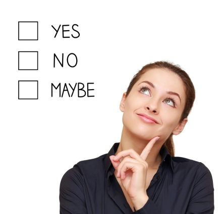 Thinking Business Woman Making Decision Yes, No Or Maybe Isolate